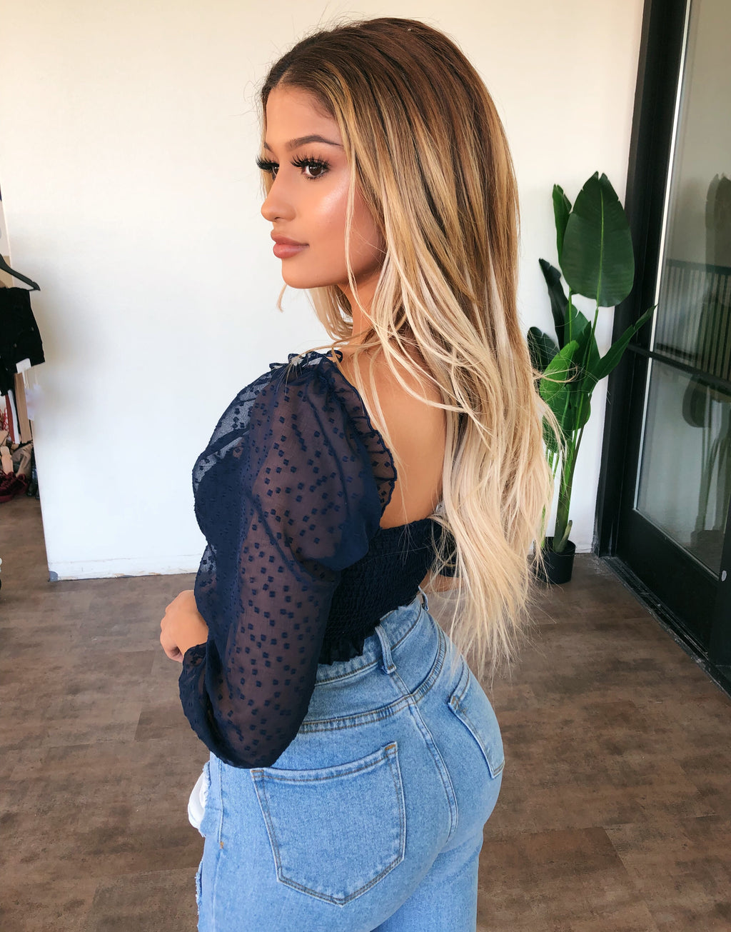 Demi Off Shoulder Top(Navy)