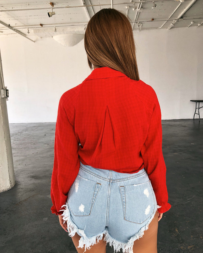 Nora Long Sleeve Top(Red)