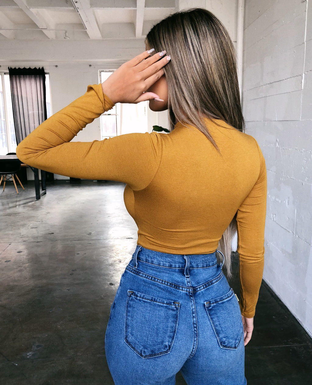 Abby Long Sleeve Bodysuit(Mustard)
