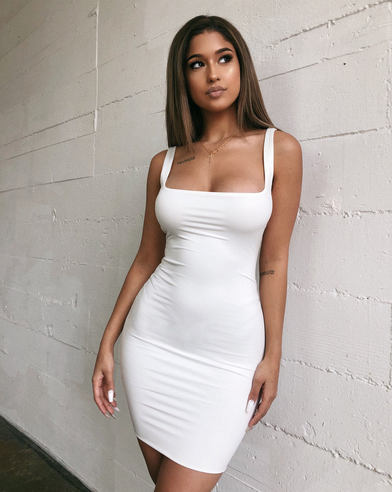 Alondra Tank Dress(White)