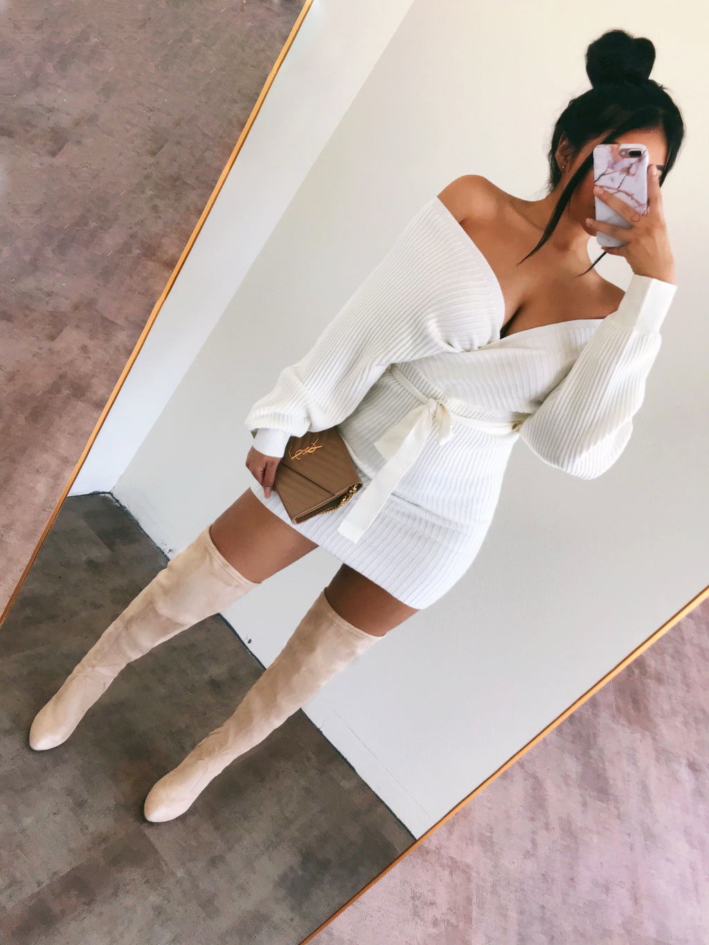 Nicki Long Sleeve Dress(White)