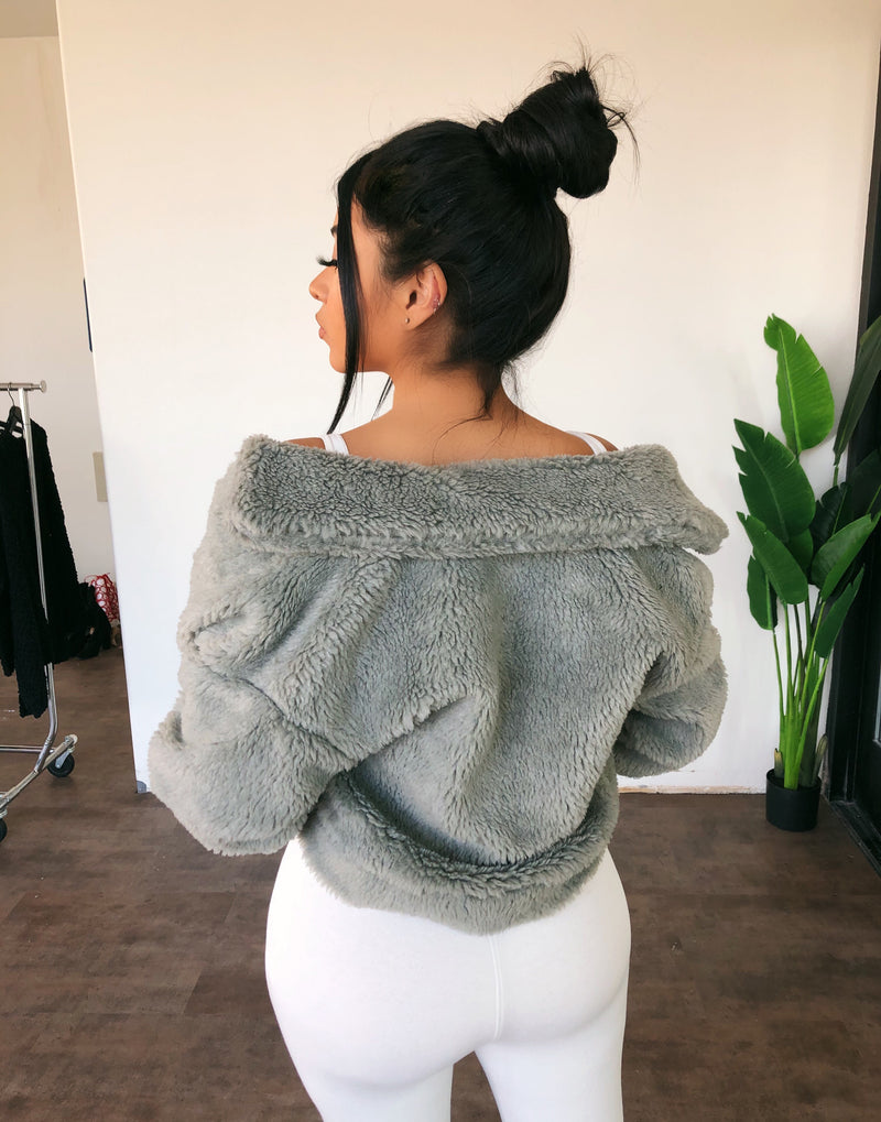 Brittany Fluffy Jacket(Olive)