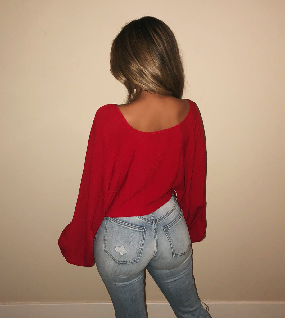 Maxine Long Sleeve Top(Red)