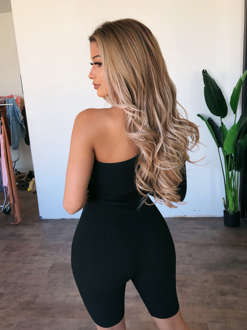 Audrey One Sleeve Jumpsuit(Black)