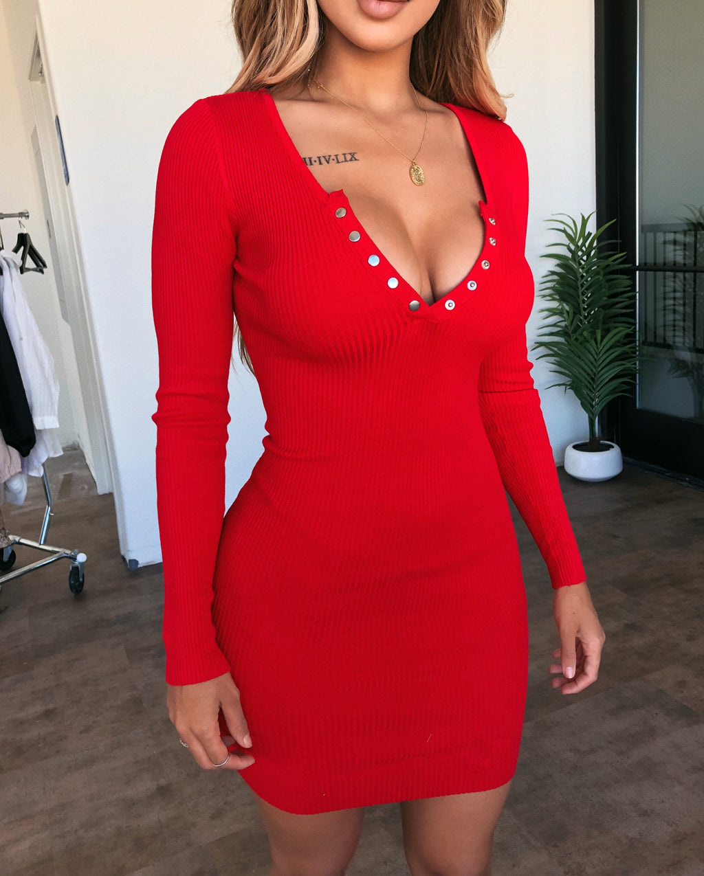 Alexis Long Sleeve Dress(Red)