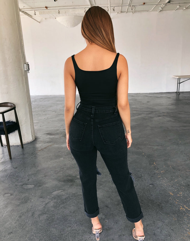 Steven High Rise Mom Jeans(Black)