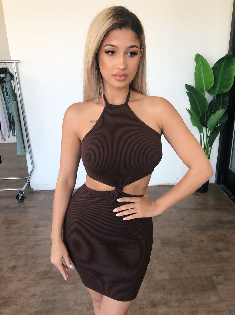 Bella Cami Dress(Chocolate)