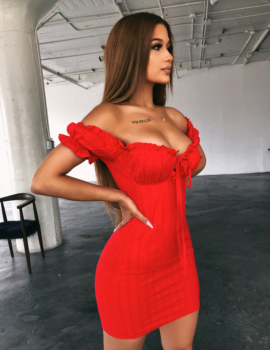 Tasha Off Shoulder Dress(Red)