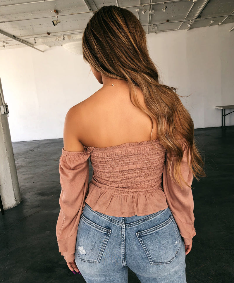 Sofia Quarter Sleeve Top(Latte)