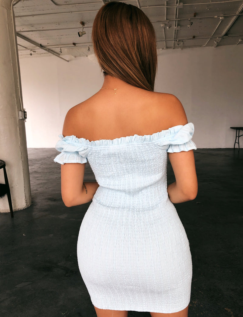 Tasha Off Shoulder Dress(Baby Blue)