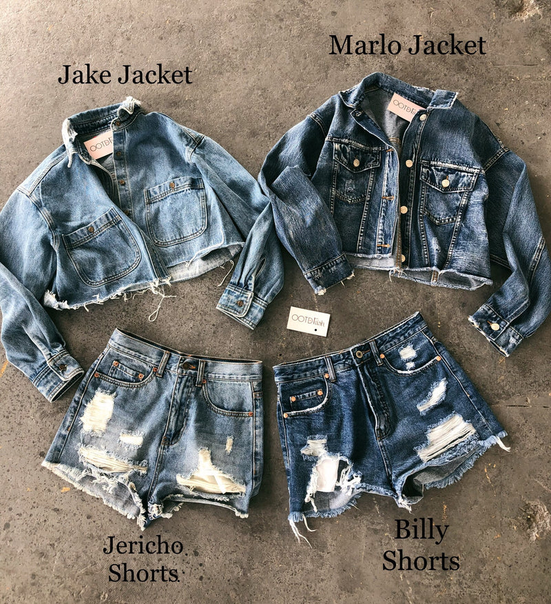 Marlo Cropped Denim Jacket(Medium Denim)