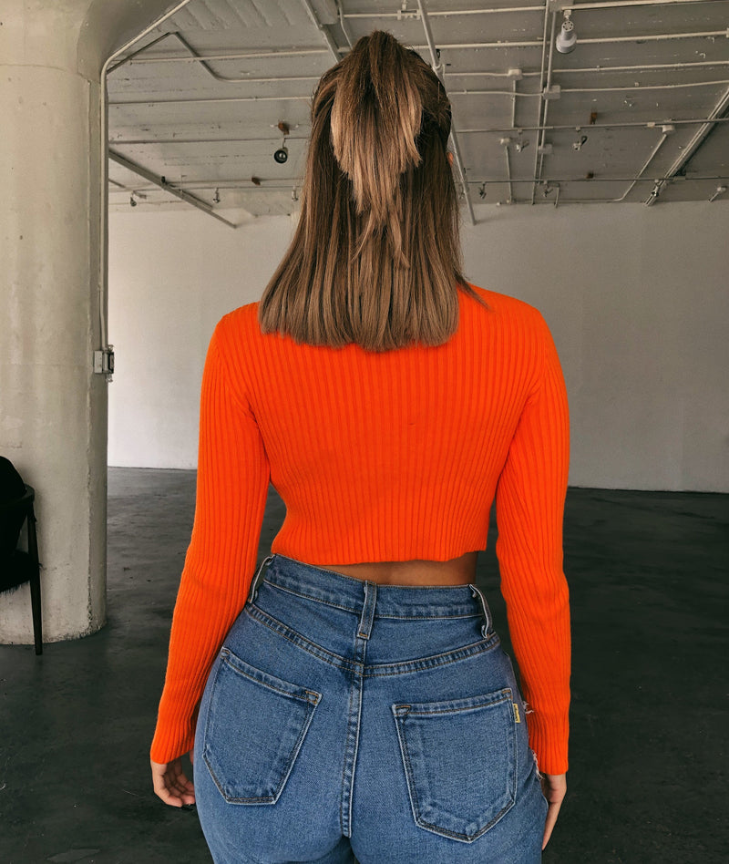Tessa Cropped Sweatshirt(Orange)