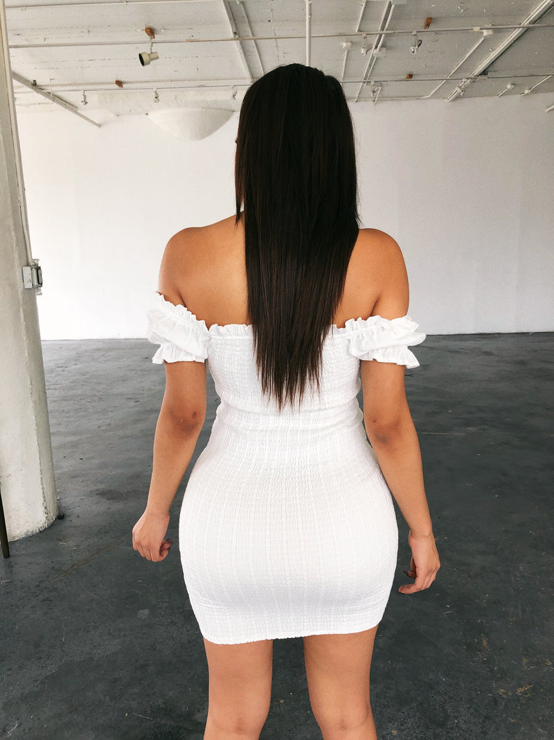 Tasha Off Shoulder Dress(White)
