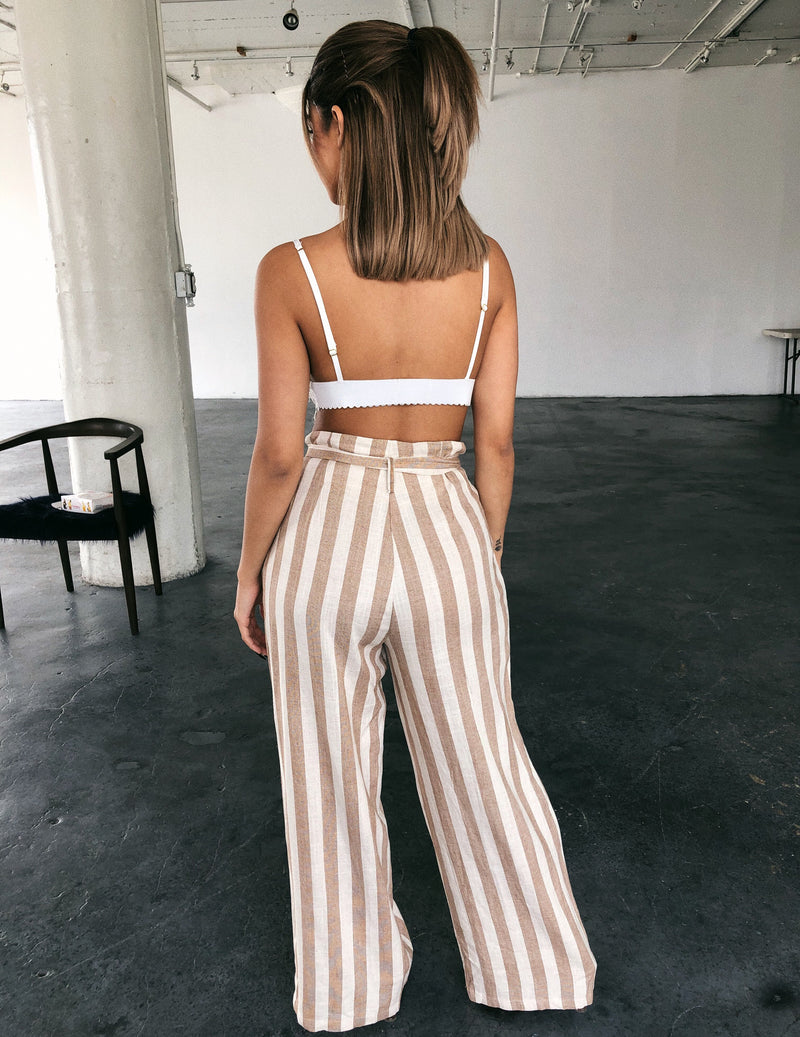 Morgan Stripe Boho Pants(Camel)