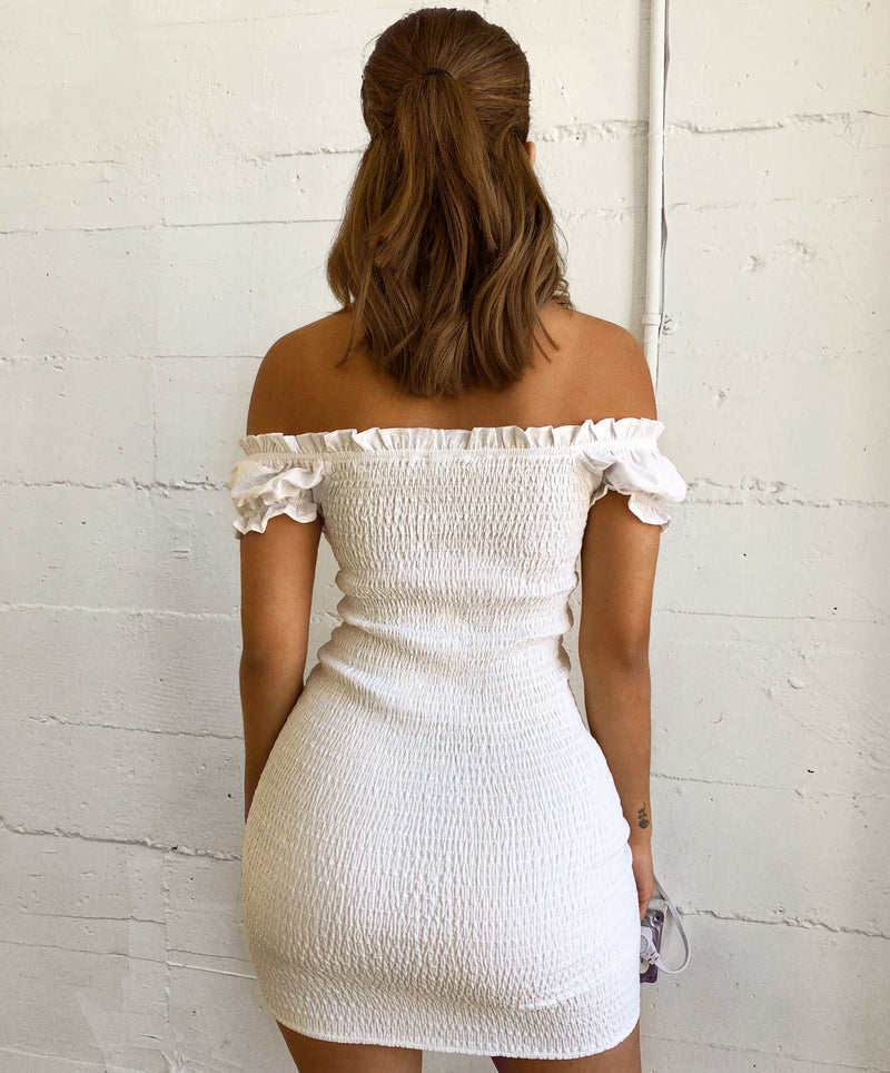 Taylor Off Shoulder Dress(Ivory)
