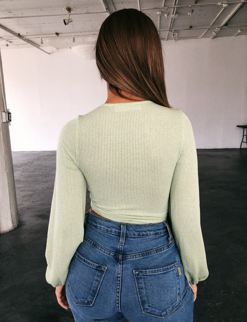 Cyrus Ribbed Top(Sage)