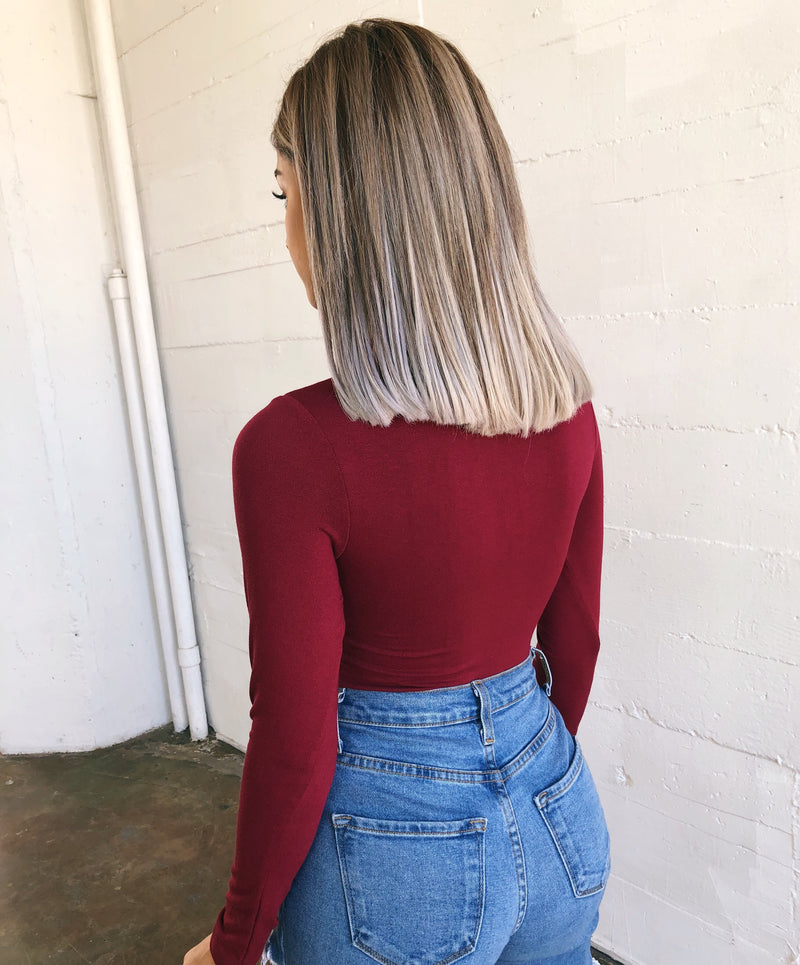 Abby Long Sleeve Bodysuit(Wine)