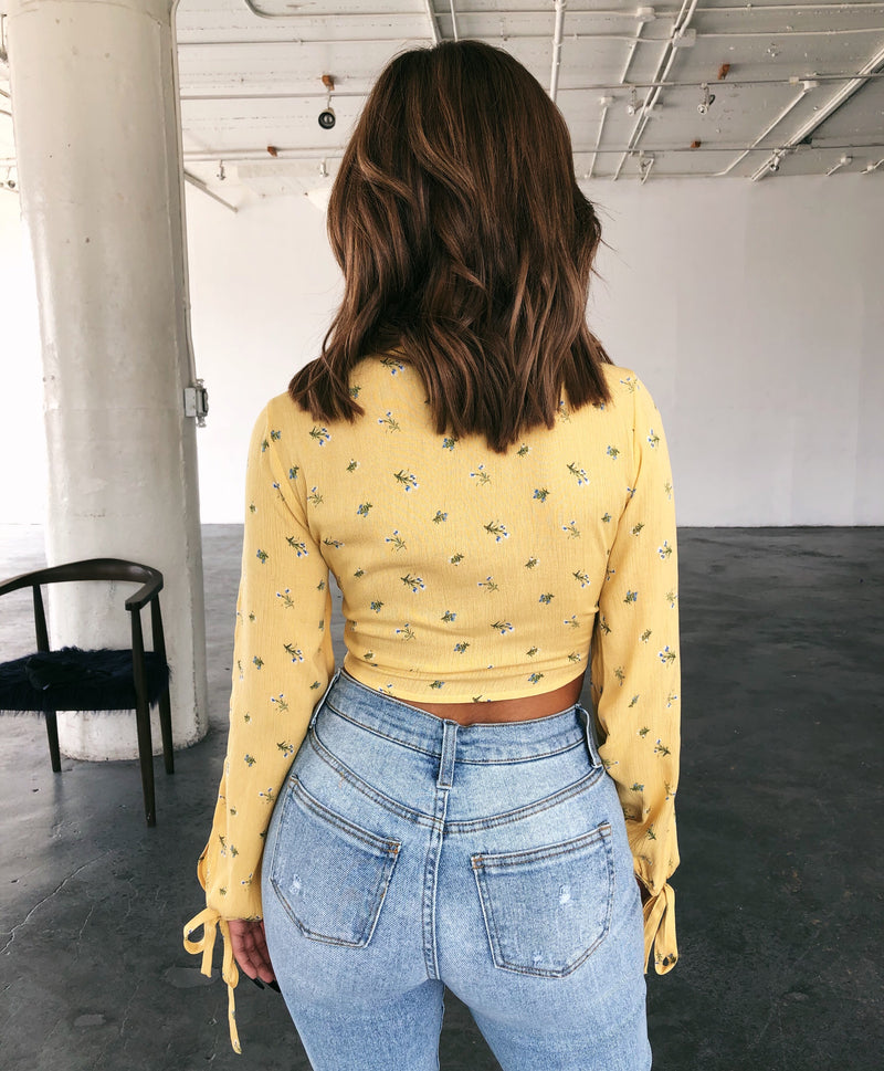 Catherine Floral Print Top(Yellow)