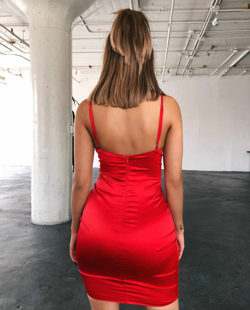Dahlia Cami Satin Dress(Red)