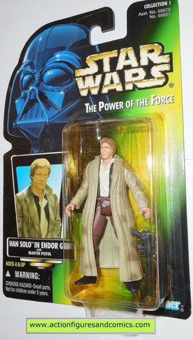 star wars action figures HAN SOLO ENDOR gear no holo power of the force 1996 hasbro toys moc mip mib