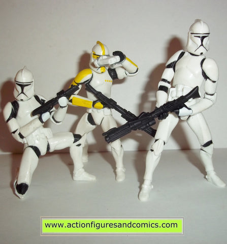 star wars action figures CLONE TROOPER 3 pack yellow clone wars action figures hasbro toys