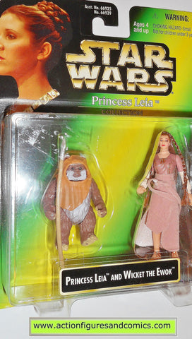 star wars action figures PRINCESS LEIA WICKET EWOK .00 gray back power of the force moc