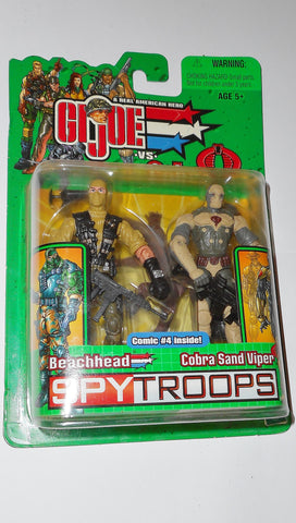 gi joe BEACHHEAD vs COBRA SAND VIPER 2003 spy troops action figures moc mip mib