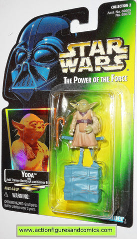 star wars action figures YODA GREEN CARD .02 power of the force hasbro toys moc