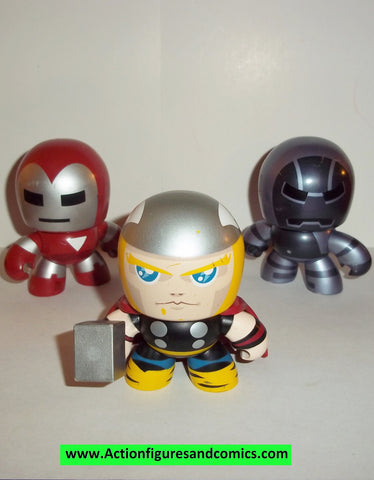 mighty muggs mini marvel universe IRON MAN THOR IRON MONGER complete 2007 mugs 3 inch