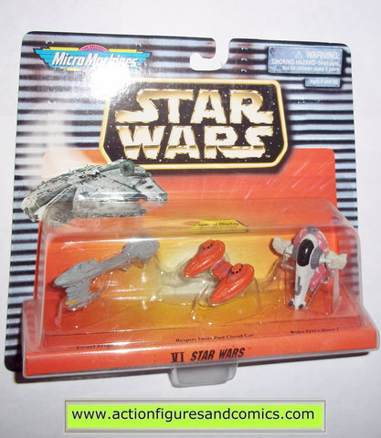 star wars micro machines VI 6 collection ESCORT FRIGATE BESPIN TWIN CLOUD CAR BOBA FETT SLAVE 1 galoob hasbro toys moc mip mib