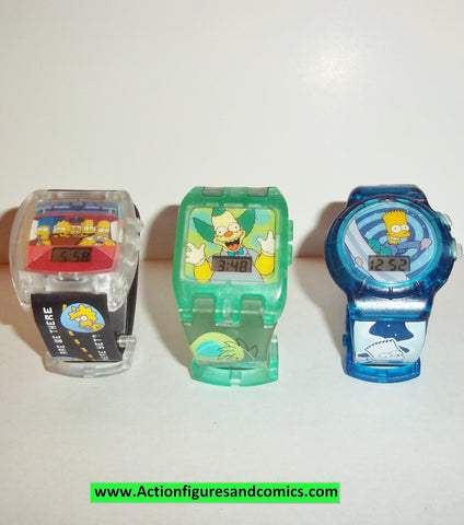 Simpsons BURGER KING WATCH set ALL WORK bart krusty family lot