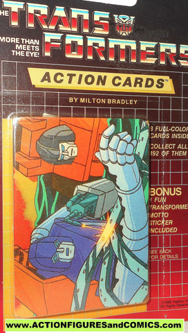 Transformers action cards 124 HUFFER BRAWN autobot rescue trading card 1985