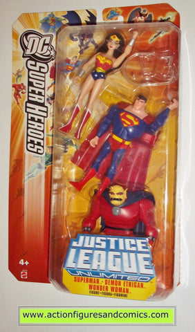 justice league unlimited ETRIGAN SUPERMAN WONDER WOMAN 3 pack moc mip mib dc universe mattel