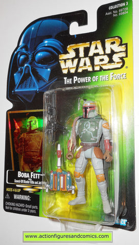 star wars action figures BOBA FETT 1996 .03 green card power of the force moc