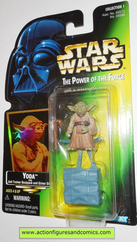 star wars action figures YODA GREEN CARD .03 power of the force hasbro toys moc