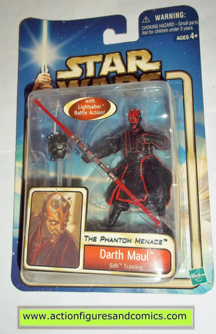 star wars action figures DARTH MAUL with training 2002 Attack of the clones saga movie hasbro toys moc mip mib