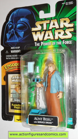 star wars action figures AUNT BERU flashback power of the force hasbro toys moc mip mib
