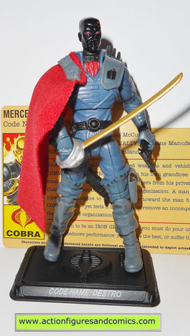 gi joe DESTRO v19 b 25th anniversary black head VARIANT complete with file card iron grenadier blue