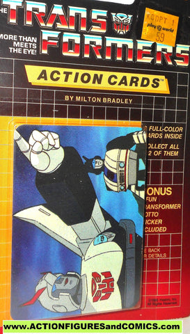 Transformers action cards PROWL JAZZ pointing autobot trading card 1985
