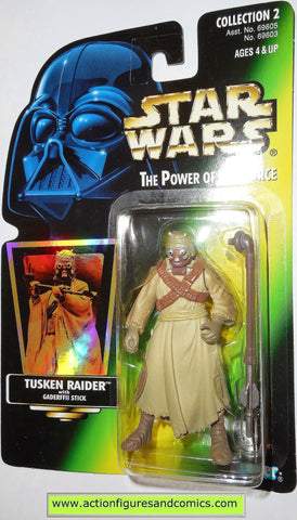 star wars action figures TUSKEN RAIDER green hologram .01 power of the force moc