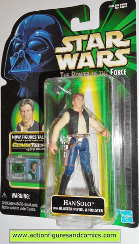 star wars action figures HAN SOLO COMMTECH large bubble variant power of the force moc