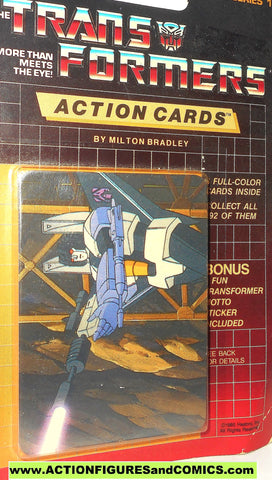 Transformers action cards SKYWARP firing MEGATRON Decepticon trading card 1985