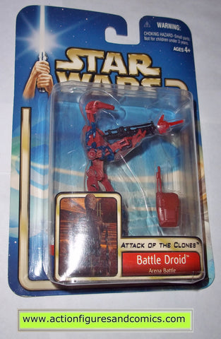 star wars action figures BATTLE DROID arena battle red 2002 Attack of the clones saga movie hasbro toys moc mip mib