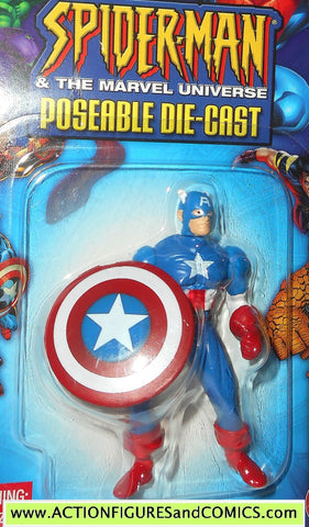 SPIDER-MAN Marvel die cast CAPTAIN AMERICA poseable action figure 2002 toybiz universe MOC