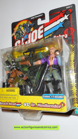 gi joe BEACH HEAD vs DR MINDBENDER 2002 cobra action figures moc mip mib