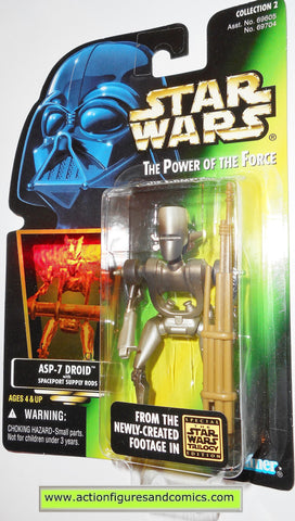 star wars action figures ASP-7 DROID power of the force 1997 hasbro toys moc