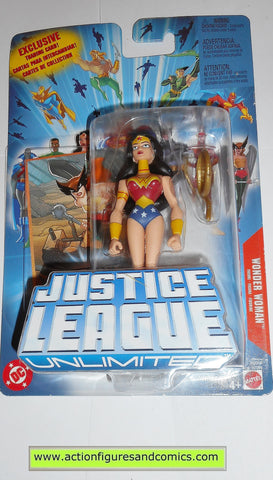 justice league unlimited WONDER WOMAN blue card dc universe action figures mattel toys moc mip mib