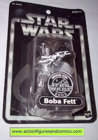 star wars action figures BOBA FETT silver convention 2003 Attack of the clones saga movie hasbro toys moc mip mib