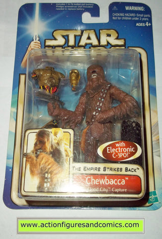 star wars action figures CHEWBACCA & C-3PO cloud city capture 2002 Attack of the clones saga movie hasbro toys moc mip mib