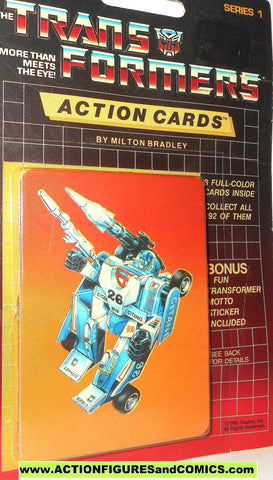 Transformers action cards MIRAGE indy race car autobot trading card 1985 000